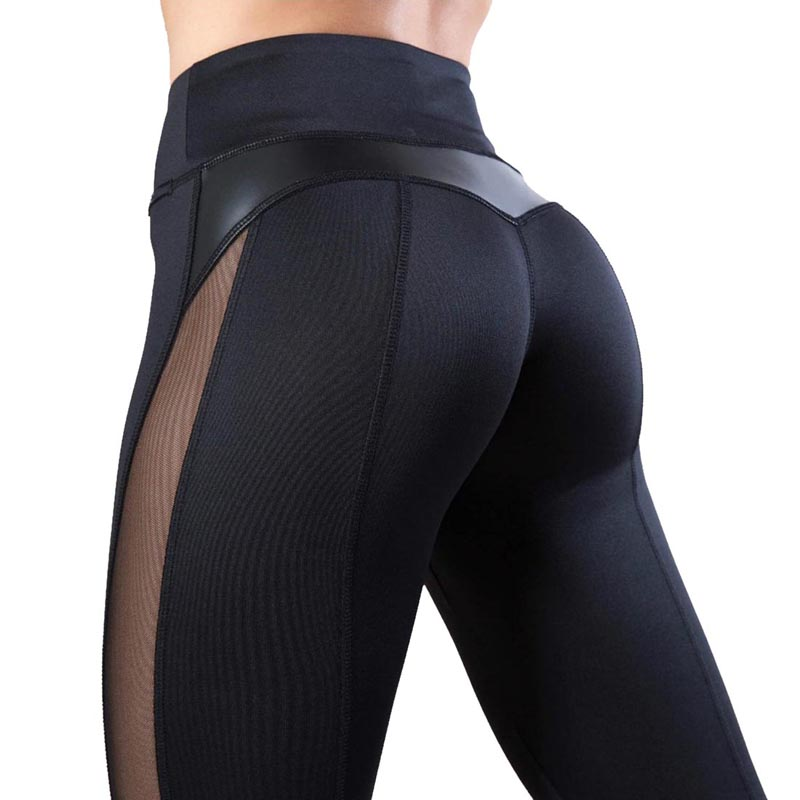 NIBESSER Fashion Mesh Leather Leggings Women Fitness Legging Sport Workout Leggins Femme Mesh PU Leather Patchwork Leggings