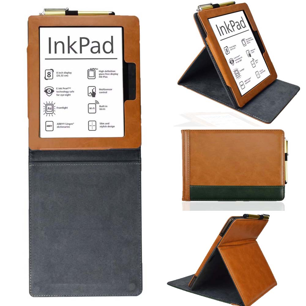 Stand Cover Case For Pocketbook 840 InkPad 2 EReader 8 Inch Pu Leather Pouch Pocket Book 840-2 Ink Pad Gift Stylus Pen