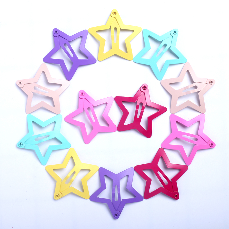 12pcs Girls Hair Accessories Hair Clips For Baby Snap Hairpins Barrettes Children Assorted Color Cute Metal Star Barrettes 3.5CM