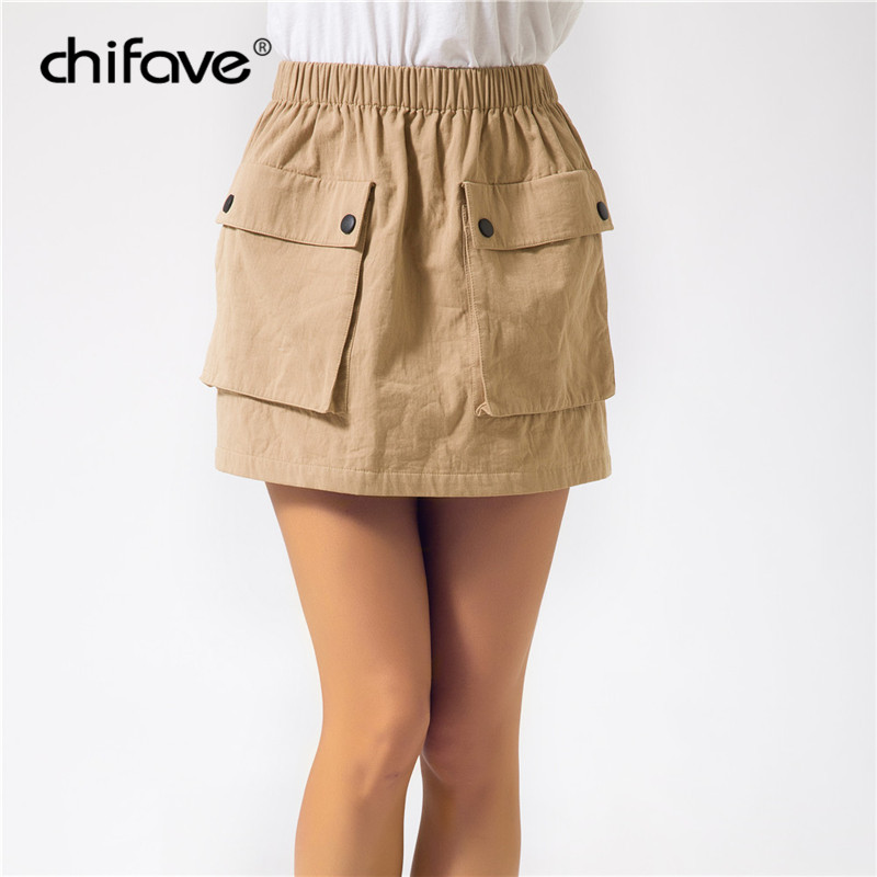 b0431485a67d 2018 Women 100% Cotton Mini Skirt Pockets Elastic Waist Spring Summer  Casual Skirt Solid A-line Short Skirts Plus Size chifave
