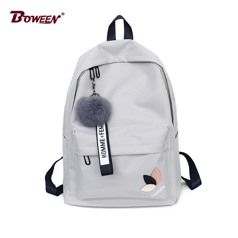 Fashion fur ball girl backpack for women 2018 teenage schoolbag College wind High school student nylon printing back pack bag image