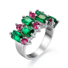 Fashion Mona Lisa Green&Rose Red Crystal Engagement Ring AAA Zircon Wedding Rings for Women Jewelry Accessories anillos