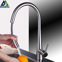 Deck Mount Brushed Nickel Pull Down Out Kitchen Sink Mixer Faucet Single Handle Kitchen Hot Cold