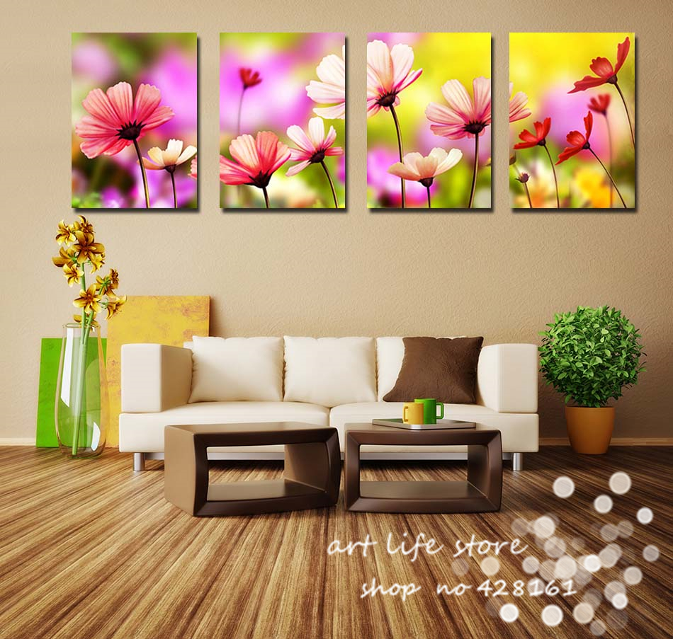 buy 4 panels living room decorative