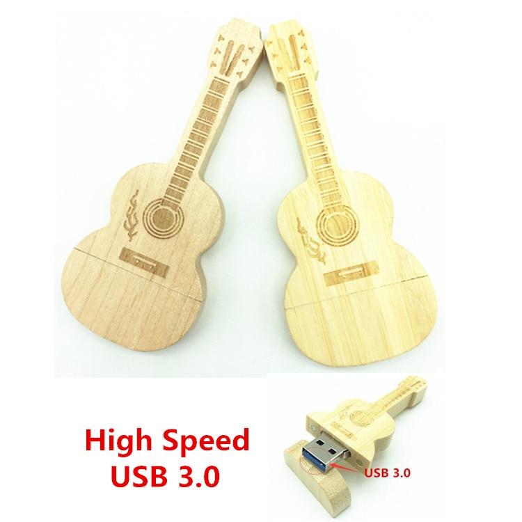Hot Sale USB 3.0 Wooden Guitar Music Love Best Gift 8GB 16GB 32GB USB Flash Memory Stick Driver U Disk Pen Drive Festival Gift