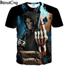 2018 NEW 3d skull poker funny t shirts Men HOT Brand Mens Casual 3D Printed T