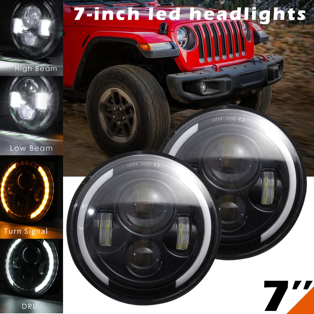 цены New 1Pair 12V 60W 6500K 7 Inch Round LED Headlights Hi/Low Beam Daytime Turn For Jeep Wrangler JK CSL2018