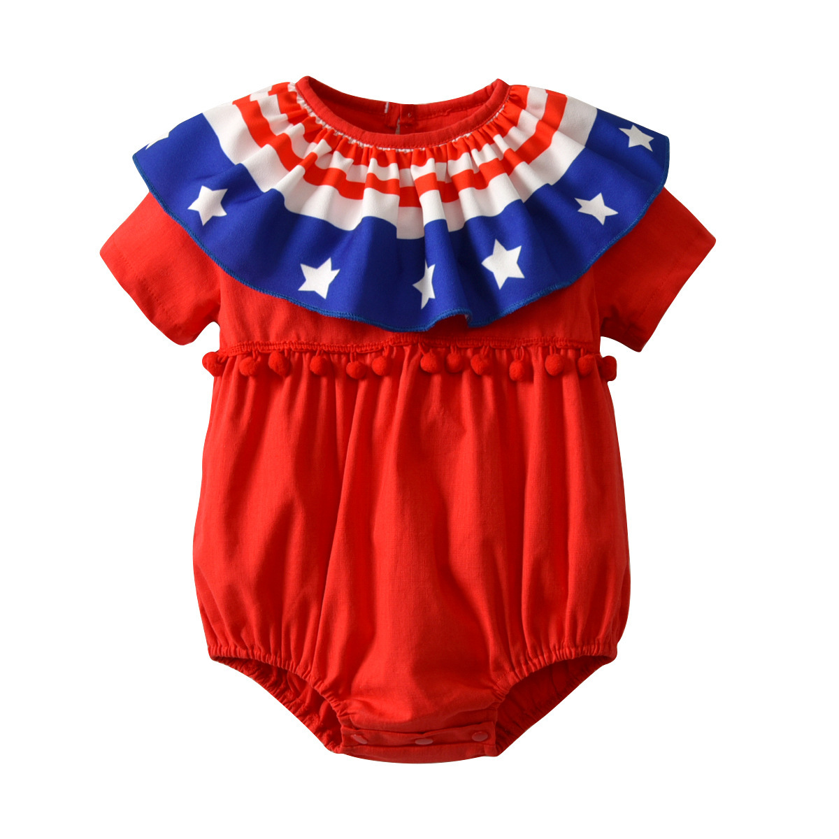 2018 Summer New Fashion Newborn Baby Girl Rompers Onesie Infant Short Sleeve U.S.A Independence Day Festival Pudcoco Tiny Cotton