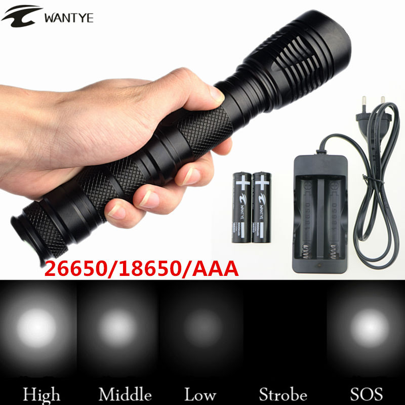 WANTYE High Power LED flashlight torch Zoomable 5-Mode zoom XML T6 3800Lm Head Torch Light lantern+2x18650 battery/Charger crazyfire led flashlight 3t6 3800lm cree xml t6 hunting torch 5 mode 2 18650 4200mah rechargeable battery dual battery charger