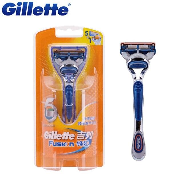 Original gillette fusion 1 mango + 1 hoja de afeitar las hojas de afeitar para los hombres máquina de afeitar la barba