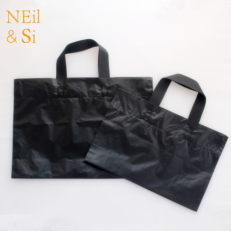 Black Plastic Handle Gift Bag Garmant Clothes Shopping