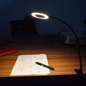 Image 5 - NEWACALOX מגדלת זכוכית USB 3X ספסל מלחציים שולחן מהדק זכוכית מגדלת LED אורות גמיש מנורת שולחן לקריאה עבודה תאורה