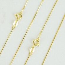 Чистое 925 пробы Серебряное ювелирное изделие Желтое Золото тонкое ожерелье-чокер в виде змеиной цепи 40 см 45 см 50 см для женщин и девушек