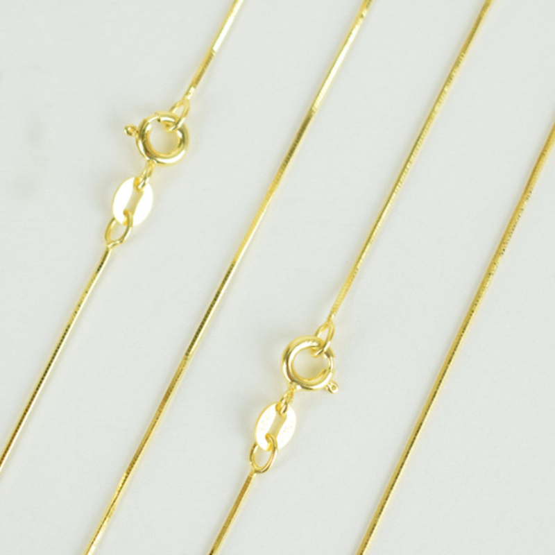 100% Pure 925 Sterling Silver Jewelry Yellow Gold Color Thin Slim Snake Chain Choker Necklace 40cm 45cm 50cm for Women Girls100% Pure 925 Sterling Silver Jewelry Yellow Gold Color Thin Slim Snake Chain Choker Necklace 40cm 45cm 50cm for Women Girls