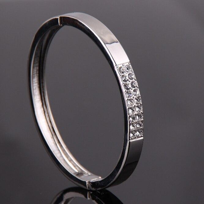 4dd2c315e13a1 Clásico de moda plata plateada Mujer rhinestone brazalete pulsera de alta  calidad