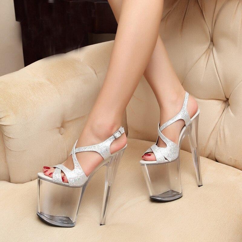 Joyhopy Super Tacones altos 20 cm cristal discoteca Sandalias Mujeres  Partido Zapatos mujer plataforma boda Bombas tamaño grande en Sandalias de  las mujeres ... 67f7a591f029