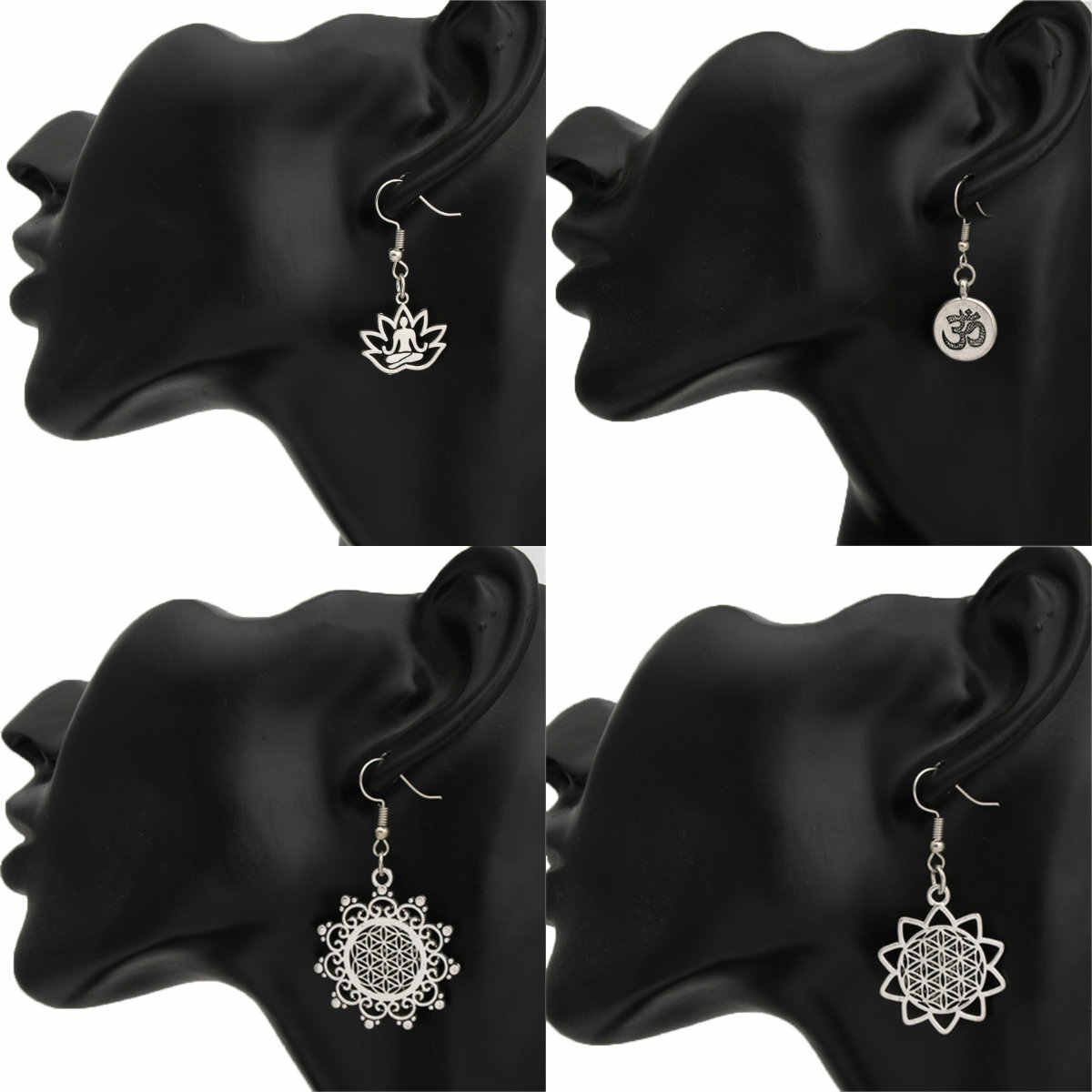 1pair Flower Of Life Religious Earring Jewelry Arabia India Yoga Jewelry Thailand India Hippie Jewelry Yoga Jewelry