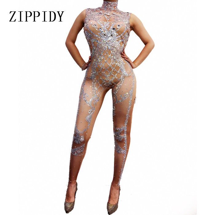 Sparkly Silver Crystals Jumpsuit Women Birthday Celebrate Nude Costume Female Singer Bling Bodysuit Performance Dance Wear