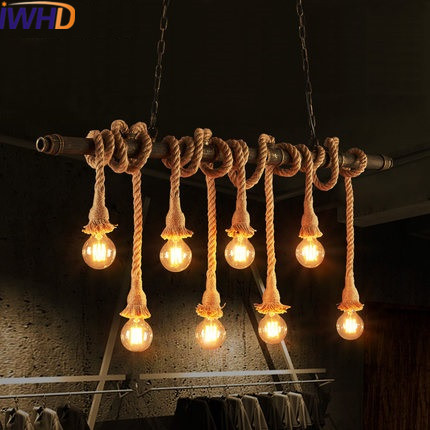 IWHD Vintage Industrial Hanging Lamp Loft Style Retro Iron Water Pipe Light Pendant Lamps Kitchen Hemp Rope Luminaier Suspendu iwhd iron loft style vintage pendant lights retro industrial lamp black cage hanging lamp kitchen wicker luminaire suspendu