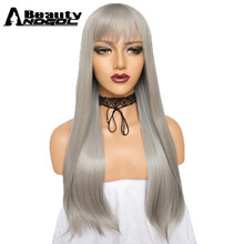 ANOGOL BEAUTY Hair Cap+Long Straight Natural High Temperature Fiber Peruca Grey Synthetic Wig For Women Cosplay With Flat Bangs(China)