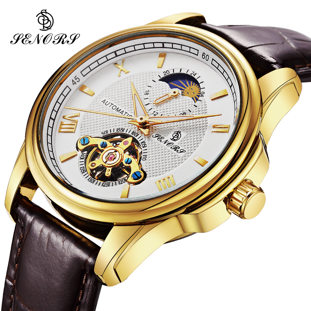 Skeleton Automatic Watch Men Waterproof Top Brand Mens Business Mechanical Watches Leather Gold Relogio Masculino Moon Phase new business watches men top quality automatic men watch factory shop free shipping wrg8053m4t2
