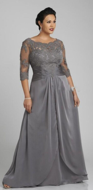 Long Mother of the Bride Dresses Floor Length Silver Plus Size ...