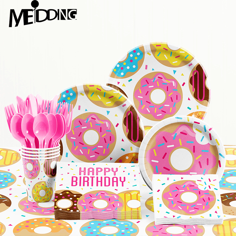 Disposable Donut Party Tableware Kids Favors Birthday Party Decoration Tablecloth And Paper Plates Baby Shower Table Accessories