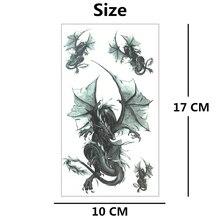 SHNAPIGN Black Doom Dragon Temporary Tattoo Body Art Flash Tattoo Stickers 17*10cm Waterproof Fake  Car Styling Wall Sticker