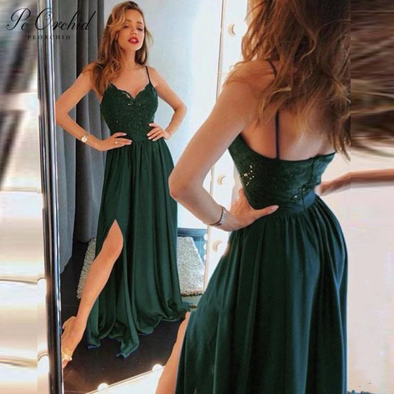Lace Emerald Green Prom Dress Vintage