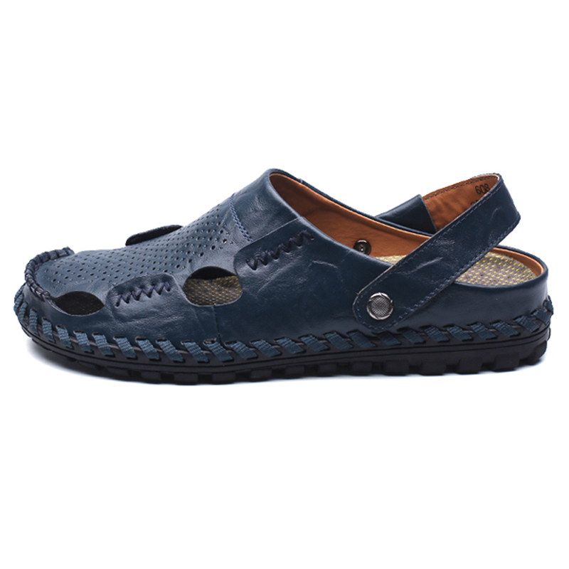 Man Sandals Leather Sandal Brand Beach Slippers Casual Men Shoes Summer Fashion Male Beach Flip Flop sandals 2016 new famous brand buckle womens flip flop sandals summer beach sandals af327