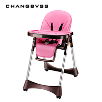 New Luxury Style Portable Baby Feeding Chair With PU Cushion Collapsible Plastic Baby High Chair Easy Clean PP Plate Highchair