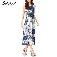 Saiqigui 2017 Summer Dresses Women Sleeveless Casual A Line Adjust Waist Vintage Dress Female Cotton Linen
