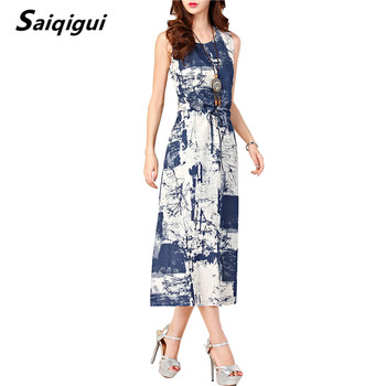 Saiqigui 2017 Summer dresses women Sleeveless Casual A-Line Adjust Waist Vintage Dress Female Cotton Linen Dresses vestidos Платье