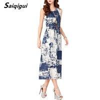 Saiqigui 2017 Summer Dresses Women Sleeveless Casual A Line Adjust Waist Vintage Dress Female Cotton Linen