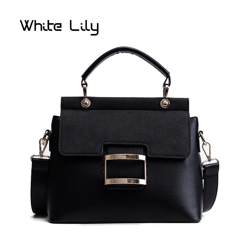 New Nubuck PU Leather Top Handle Tote Bag Women Handbag Metal Hasp Female Shoulder Bag Ladies Messenger Bag