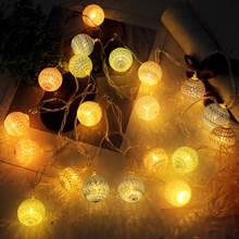 Высокие 355 м 20 светодиодов струнные огни хлопковые шары из