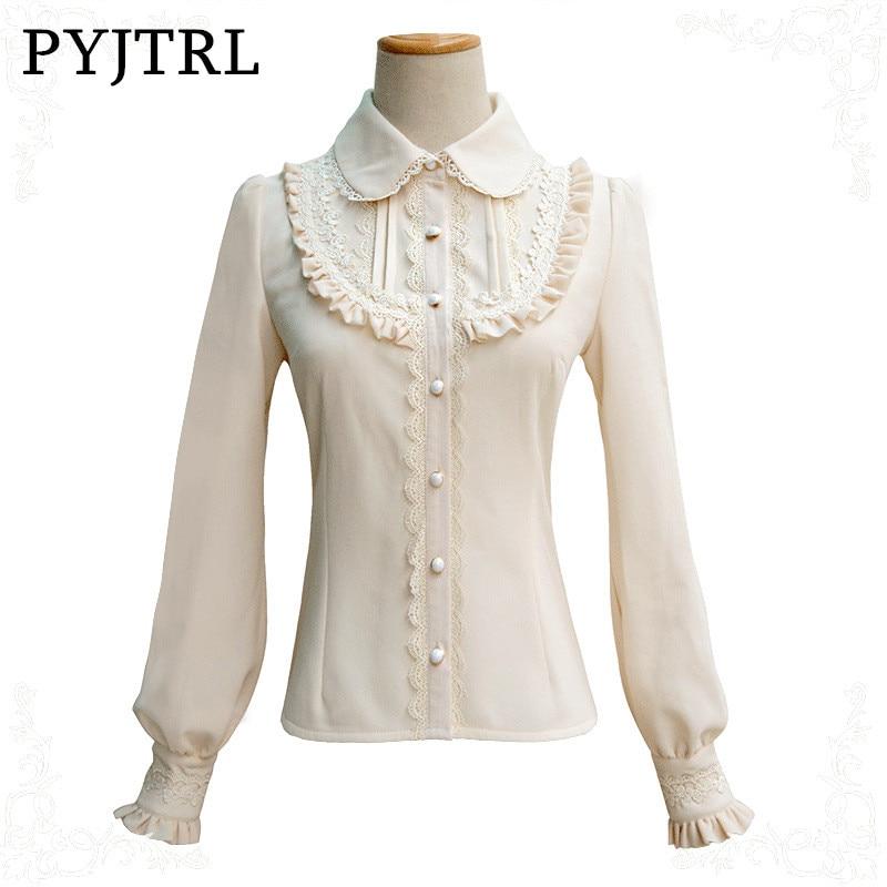 PYJTRL New Autumn Winter Thick Keep Warm Shirt Sweet Lolita Temperament Lace Turn Down Col