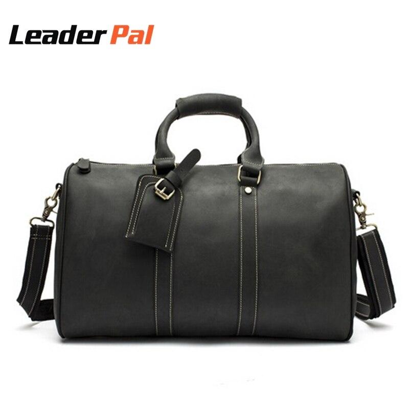 Big Capacity Men Bags Crazy Horse Leather Men Travel Bag Tote Large Luggage Vintage Leather Travel Duffles Shoulder handbag 9016