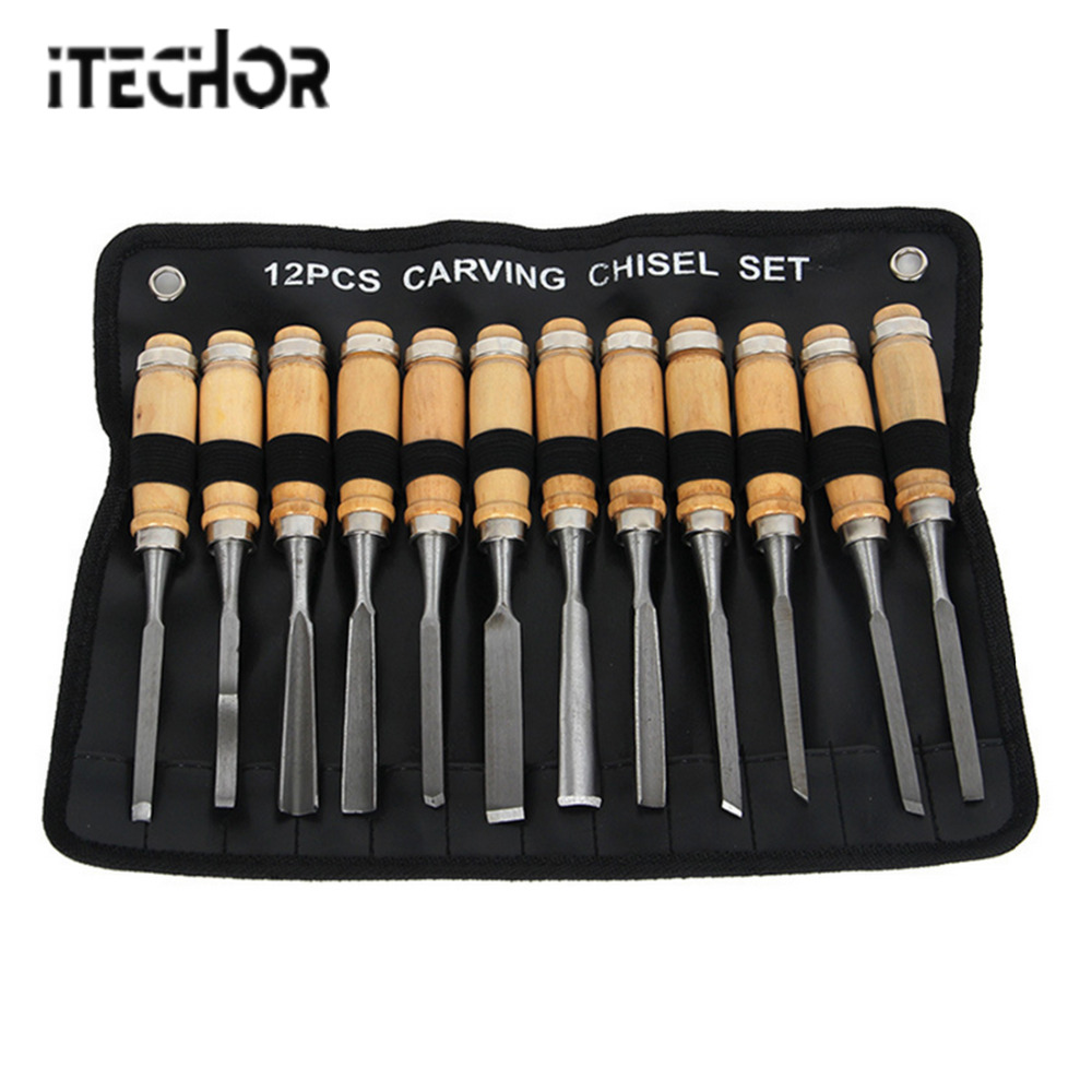 ITECHOR 12 Pcs Tool Set Carving Chisel Set DIY Hand Wood Carving Tools Carving Knife For Nerf Modification - Wood Color + Silver 3pcs wood chisel set carving knife 12 19 25mm for carving wood carpenter hand woodworking tools