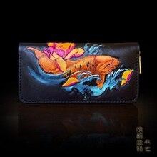 OLG.YAT handmade wallet mens purse womens bag long zipper handbag Italian Vegetable tanned leather wallets fish retro pure