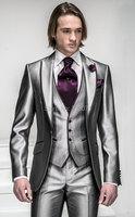2015 Na zamówienie dostosowane do potrzeb Slim Fit Shiny Silver 1 Przyciski Groom Smokingi Groomsman Mężczyźni Garnitury Ślubne Oblubieniec Kurtka + Spodnie + Kamizelka + krawat