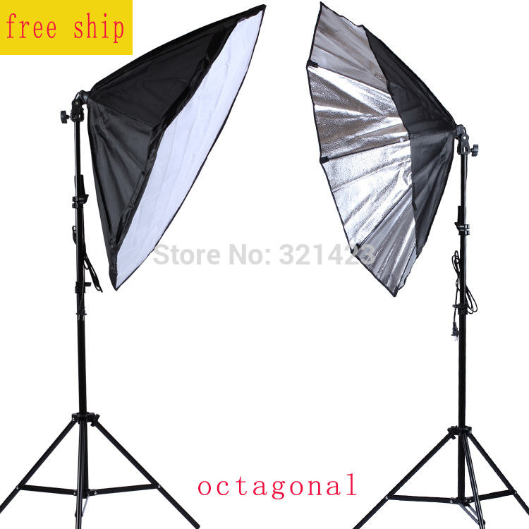 86cm Octagonal Softbox E27 Lamp Holder Photography Lamp Kit 75-200cm Light Stand Continuous Lighting Softbox 2PCS 50 70cm softbox continuous photo studio lighting 4 in 1 socket e27 light lamp holder with 2pcs light stand photography kit