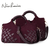 2016 Retro European Style Noble Weave Nubuck Leather Soft Women Handbags Totes Shoulder Bags Lady Cross