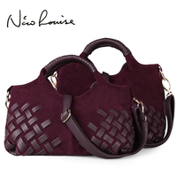 2016 Retro European Style Noble Weave Nubuck Leather Soft Women Handbags Totes Shoulder Bags Lady Cross