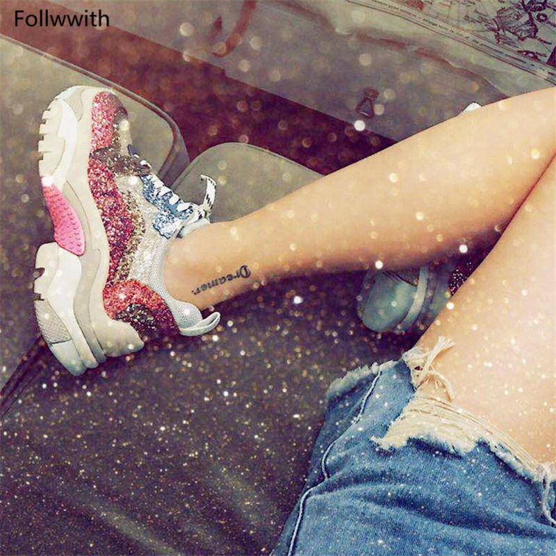Zapatillas Mezclados Plataformas De Encaje Brillo 2018 Zapatos Diseñador Pic Calle La As Ultra Moda Colores Estilos Hasta Bling Pink XqwxXtIS