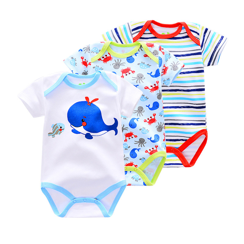 KAVKAS Summer Baby Rompers 3PCS Newborn Baby Clothes Infant Jumpsuits Roupas Bebe Baby Boy Clothes Random Baby Girl Clothes