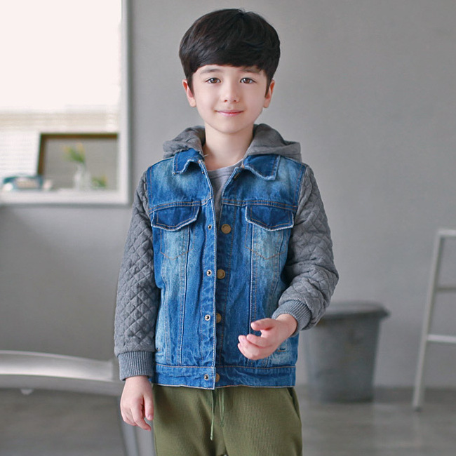 ФОТО New brand winter down coat male child short design thickening children's clothing baby kids down jeans jacket parkas