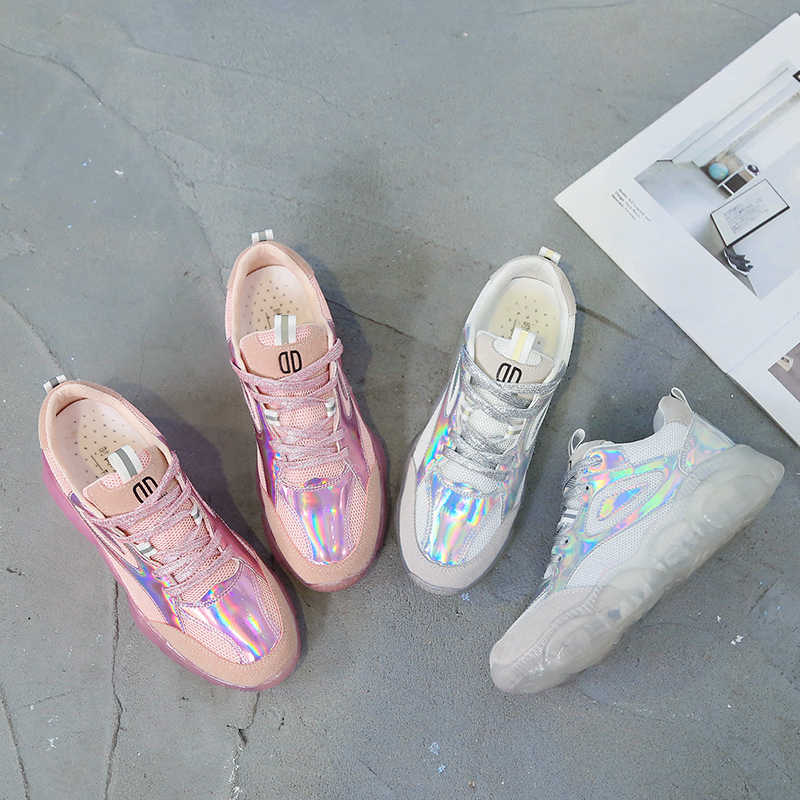 d61eb0f775 Spring Women Chunky Sneakers Harajuku Casual Dad Shoes Platform Sneakers  Transparent Jelly Sole Breathable Mesh Patent Sneakers
