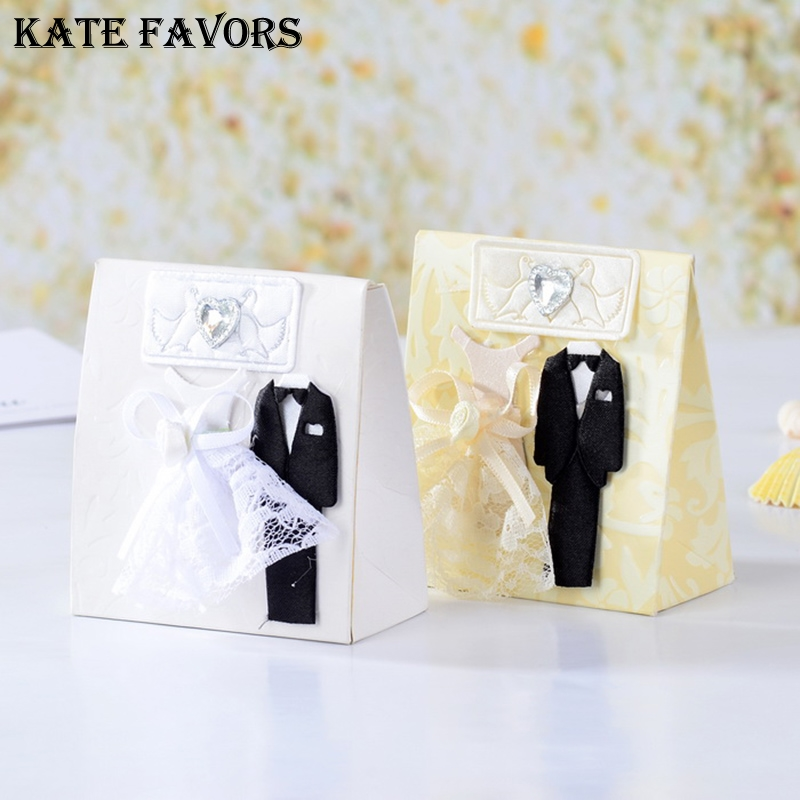 Wedding Favors And Gifts Box Fashion Bride And Groom Dress Suit Box Wedding Boxes Favour Boxes 12pcs