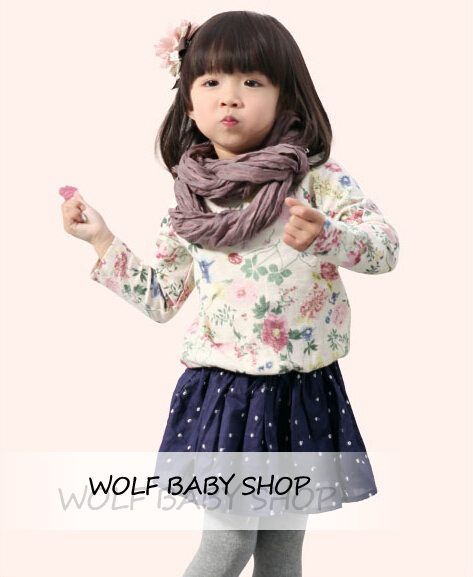 Розничные детские детские Одежда Для Девочек Одежда цветочный рубашка с длинным рукавом блузка Детская Одежда 2014 новая бесплатная доставка